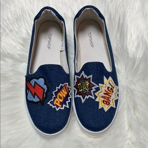 TOPSHOP Denim Zap, Bang, Pow Graphic Slip-Ons Sz 7